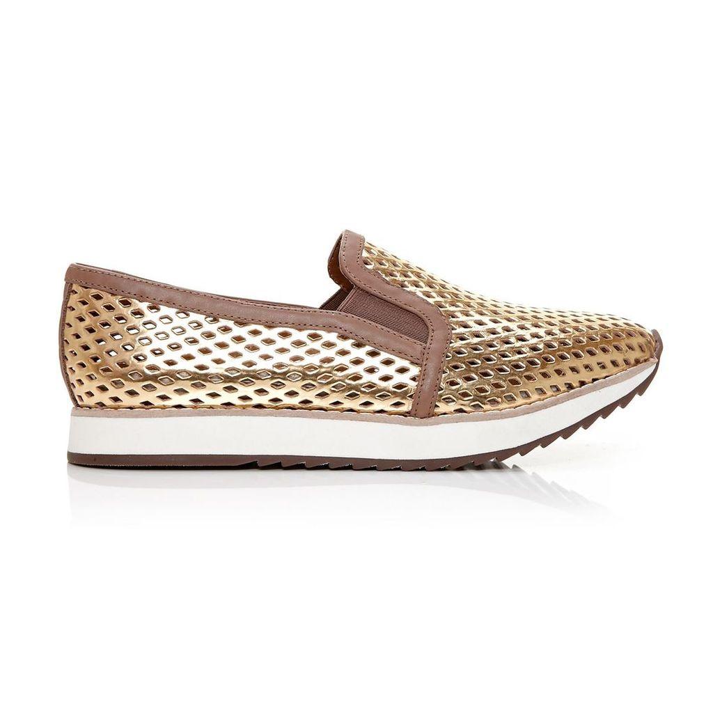 Moda in Pelle Fiorello Gold Low Leisure Shoes