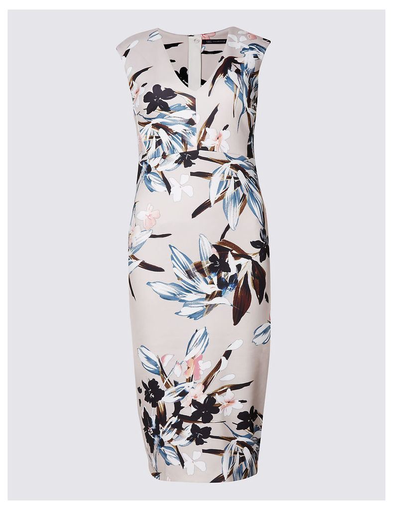 M&S Collection Smudge Floral Print Bodycon Midi Dress