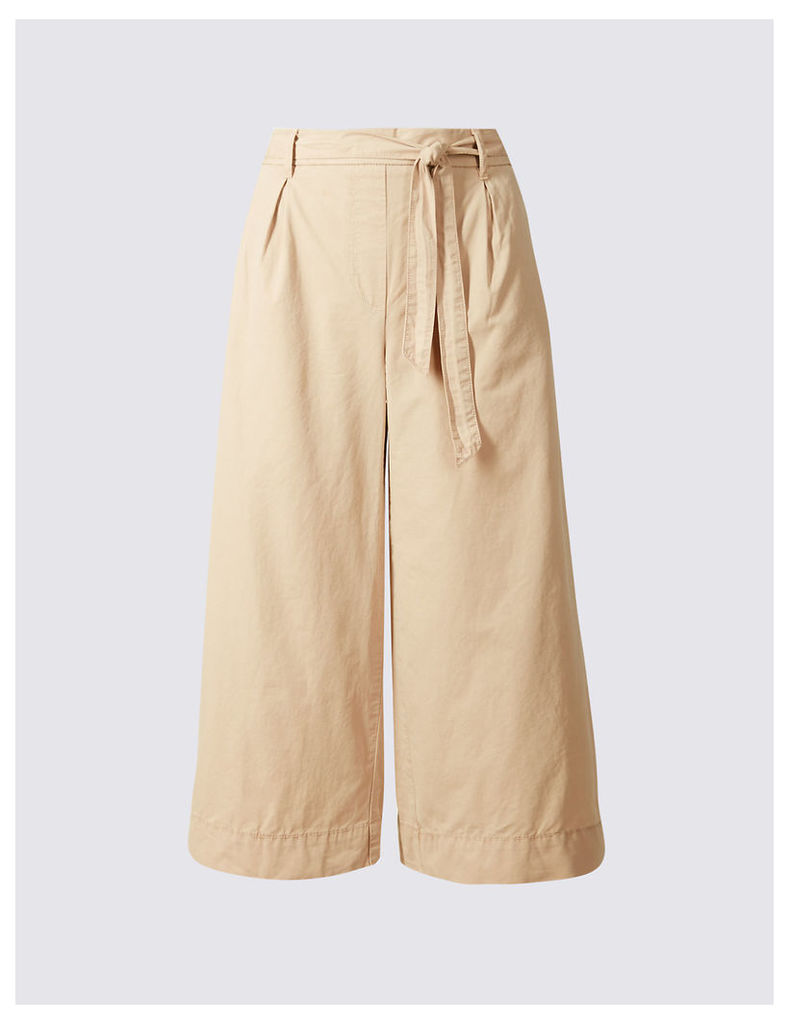 M&S Collection Pure Cotton Poplin Cropped Culottes