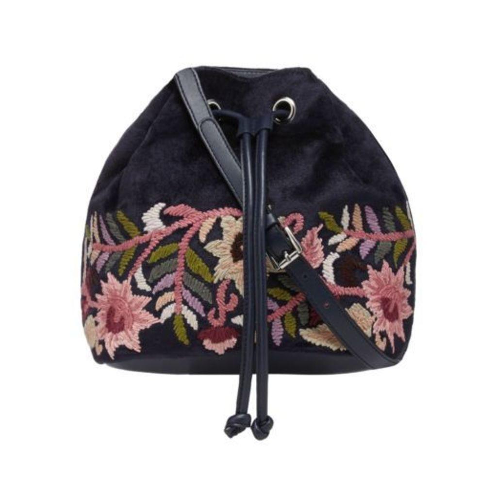 Nine By Savannah Miller Navy Floral Embroidered Duffle Bag From Debenhams