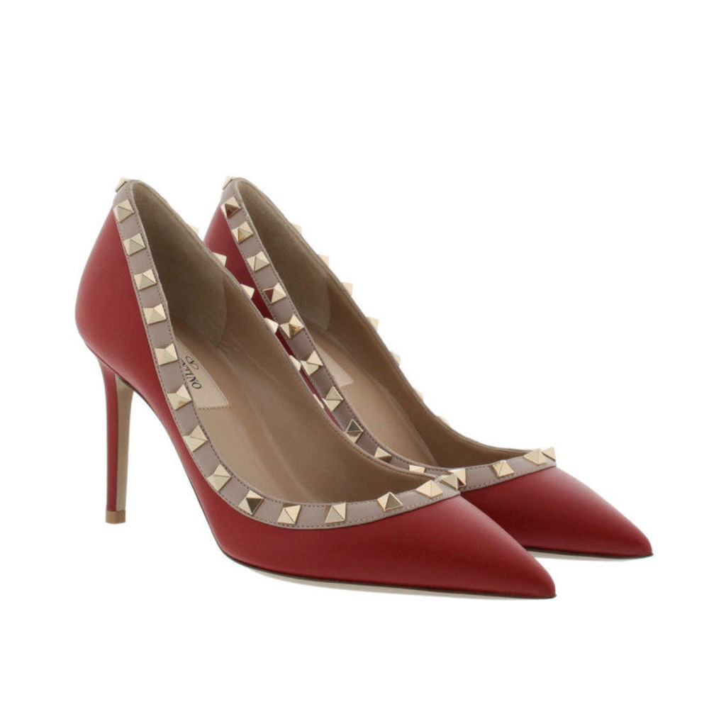 Valentino Pumps - Rockstud Mat Leather Pumps Rosso - in red - Pumps for ladies