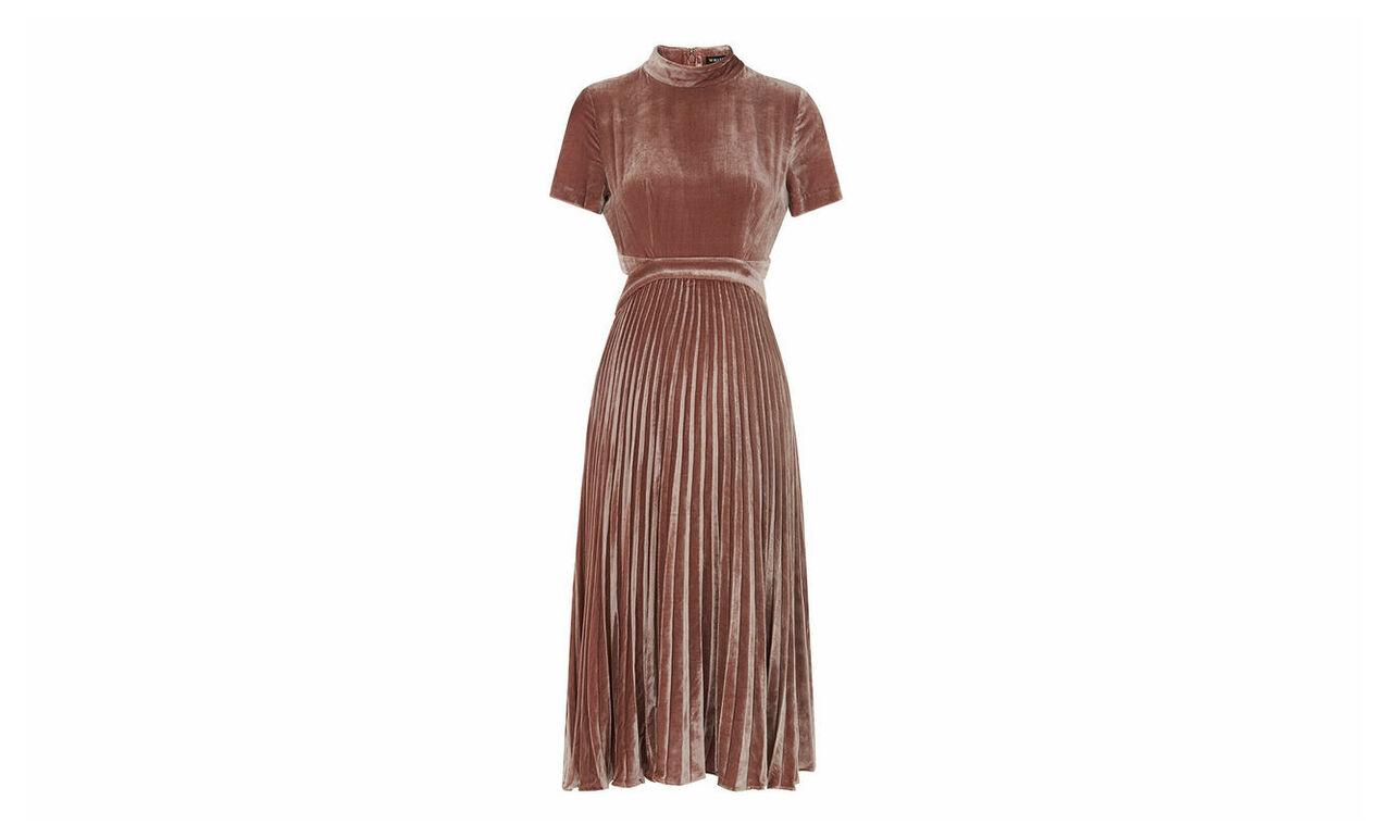 Alexandra Pleat Velvet Dress