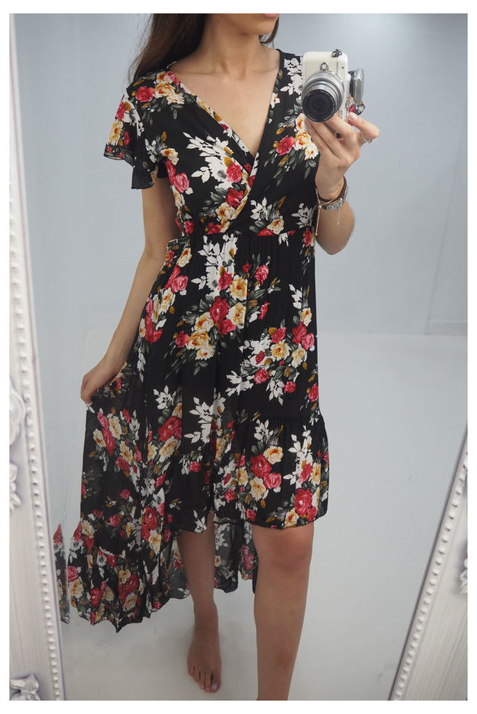 Brietta floral printed dipped hem maxi dress