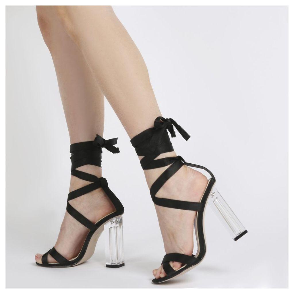 Ariel Perspex High Heels  Satin, Black