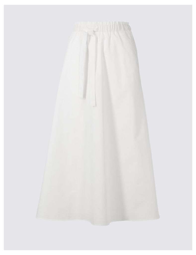 Limited Edition Pure Cotton Tie Waist A-Line Midi Skirt