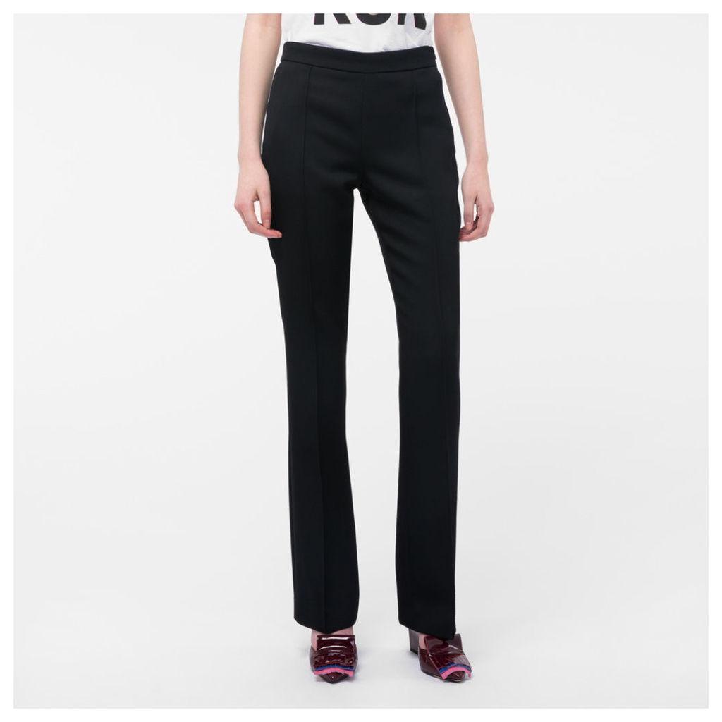 Women's Slim-Fit Black Wool-Twill Trousers With Waist Zip