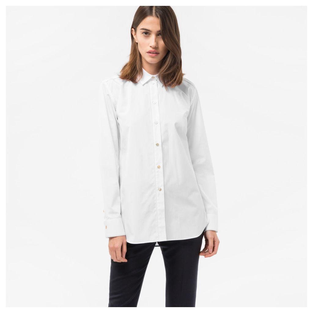 Women's White Cotton Shirt With Satin Frogging