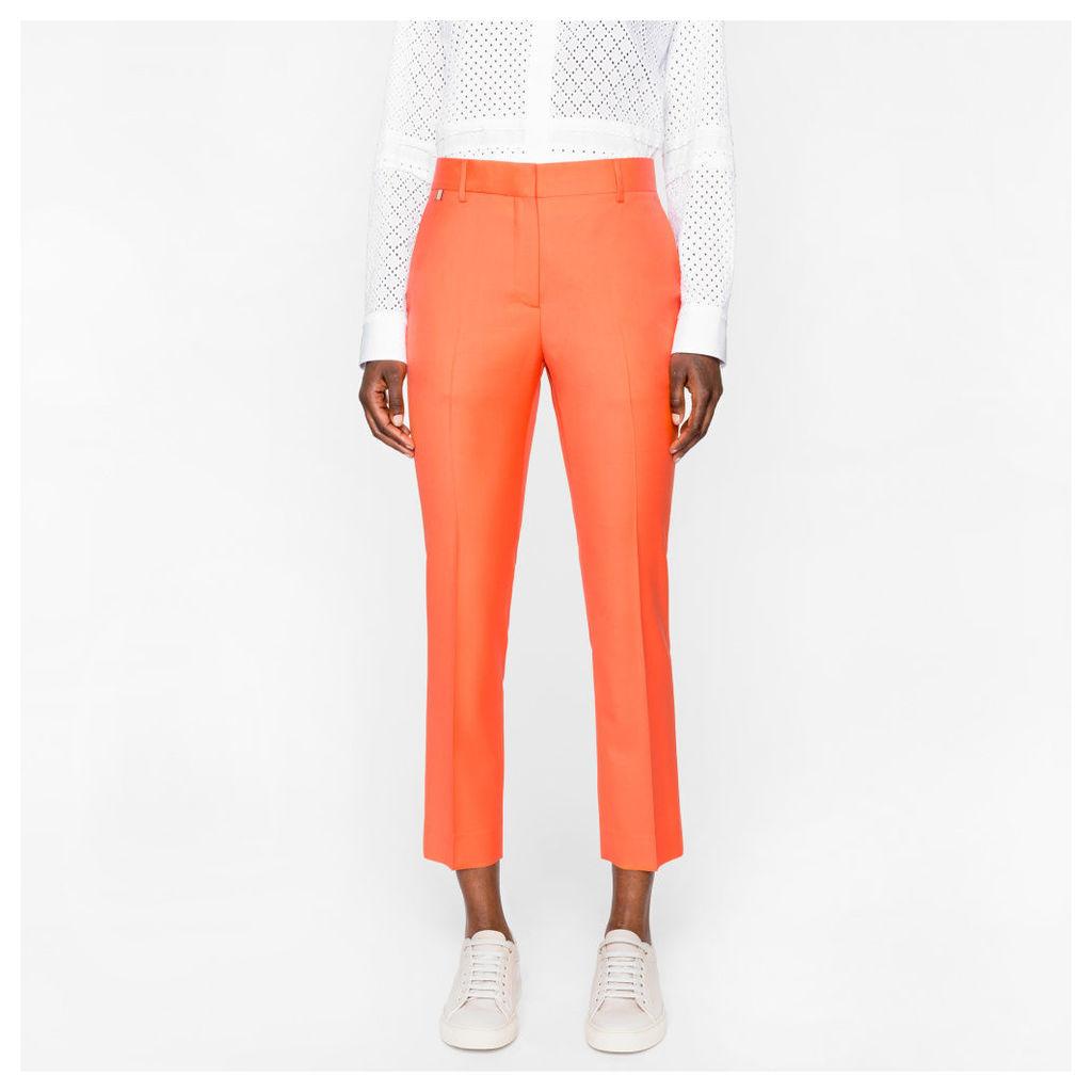 Women's Slim-Fit Orange Wool Trousers