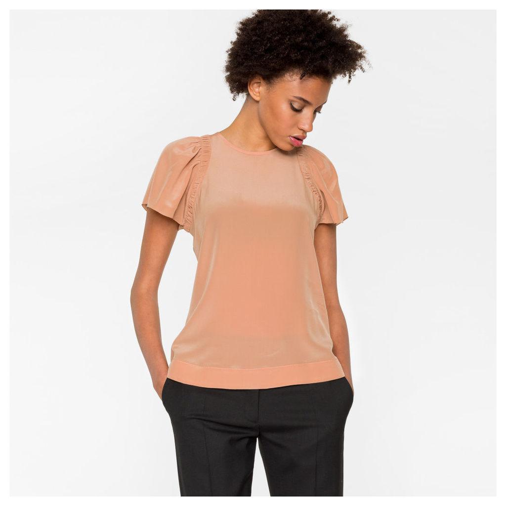 Women's Dusty Pink Silk-Crêpe Top
