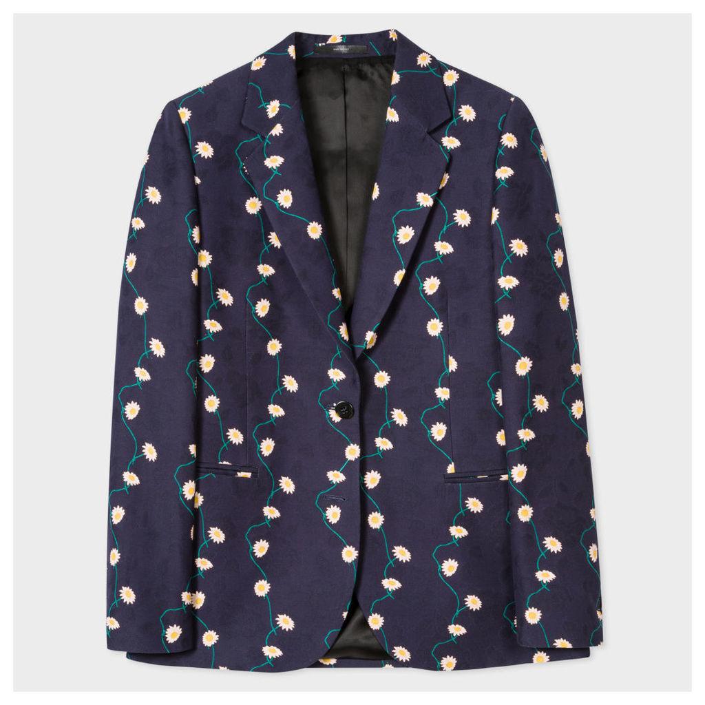 Women's Navy Cotton Blazer With 'Daisy-Chain' Print