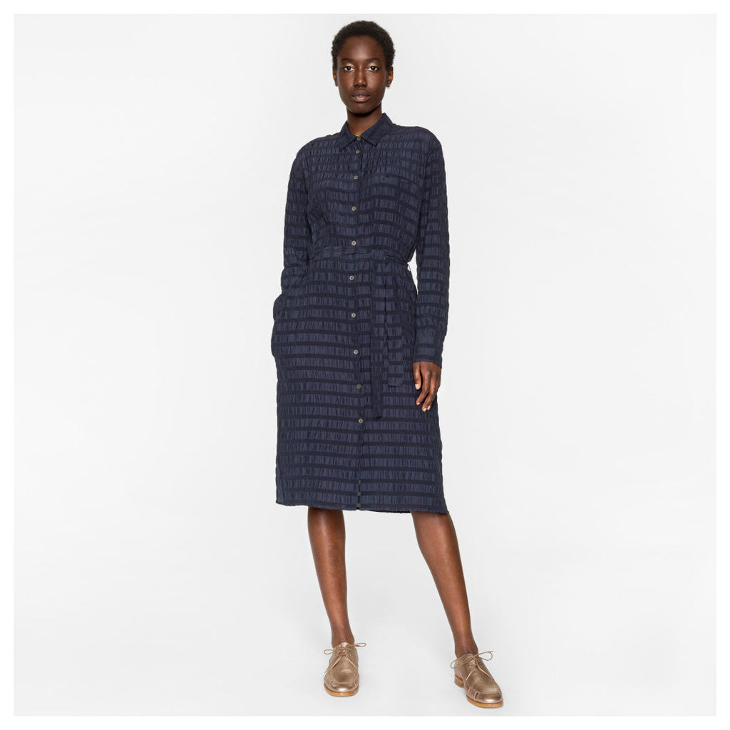 Women's Navy Silk Seersucker Travel Dress