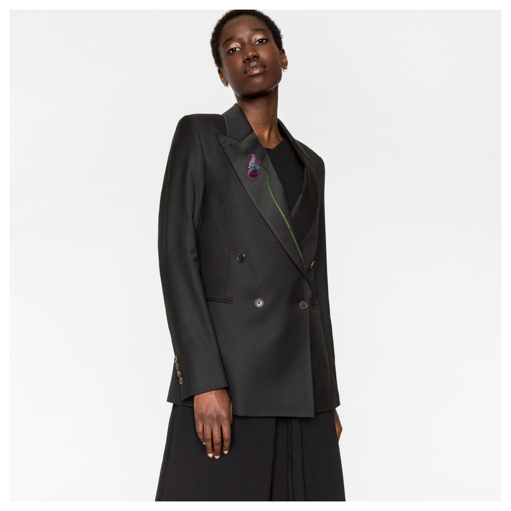 Women's Black Wool Double-Breasted Blazer With Floral Lapel Embroidery