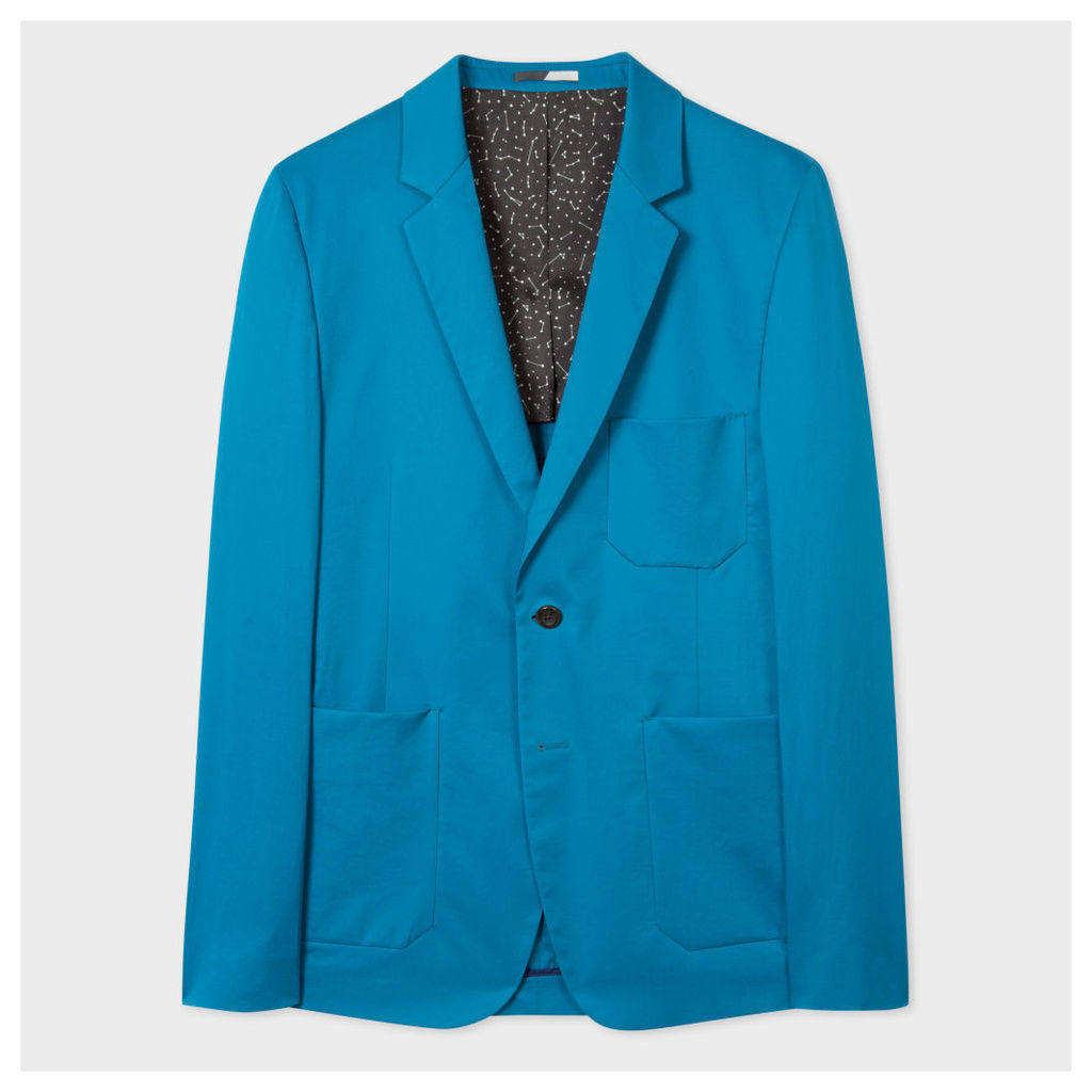 Men's Slim-Fit Turquoise Stretch-Cotton Buggy-Lined Blazer