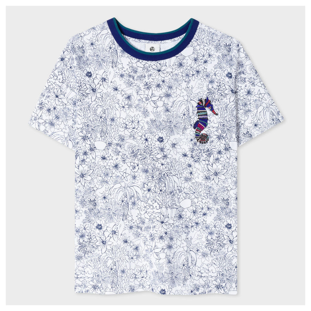 Women's White 'Creature Floral' Print T-Shirt With Seahorse Appliqué