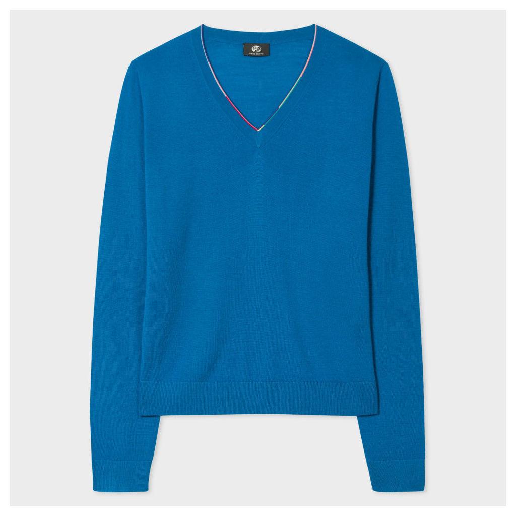Women's Dark Turquoise Merino Wool V-Neck Sweater With Stripe Detail