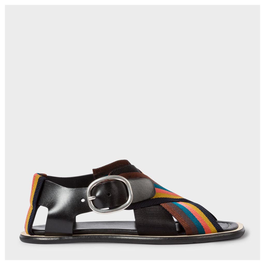 Women's Black Leather Sandals With 'Artist Stripe' Webbing