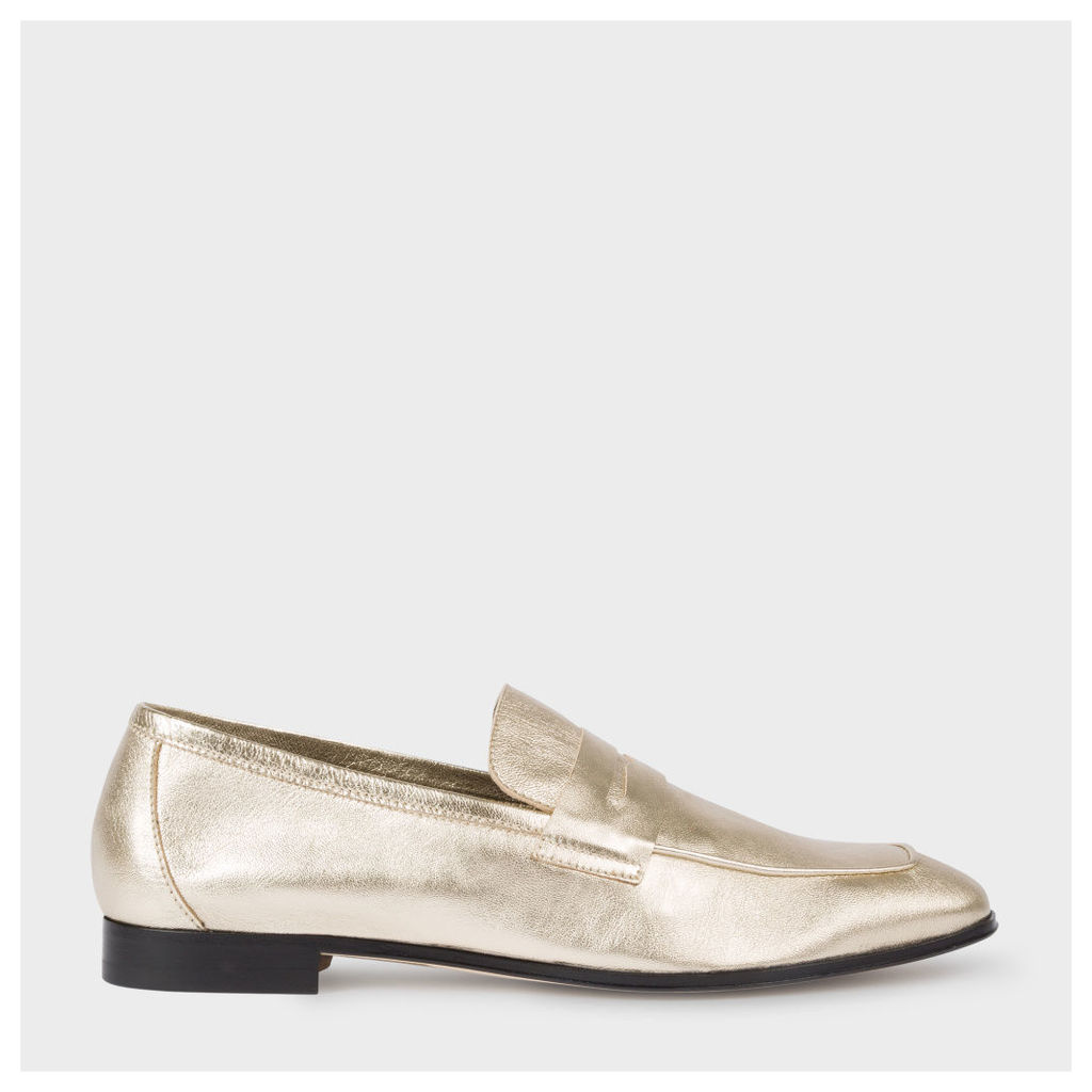 Women's Gold Leather 'Glynn' Penny Loafers