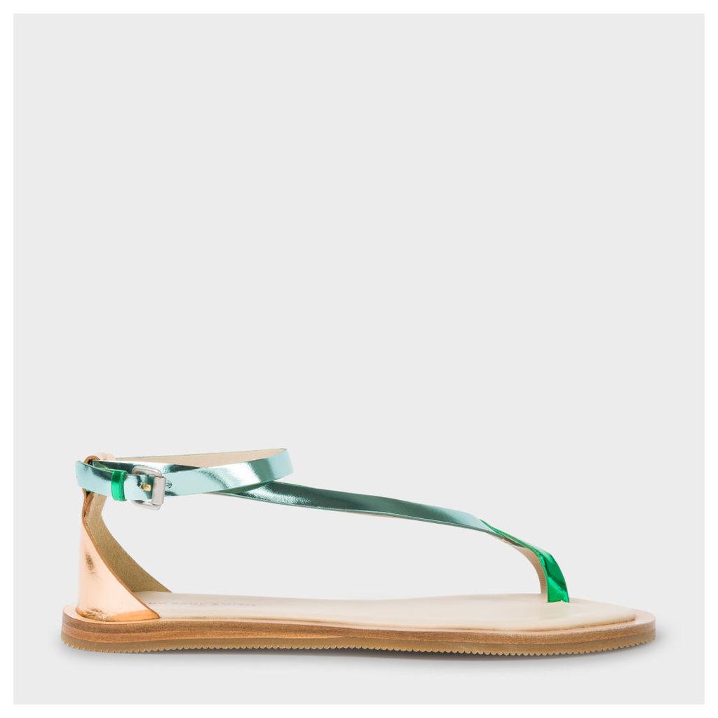Women's Metallic Green And Gold Leather 'Lilja' Sandals