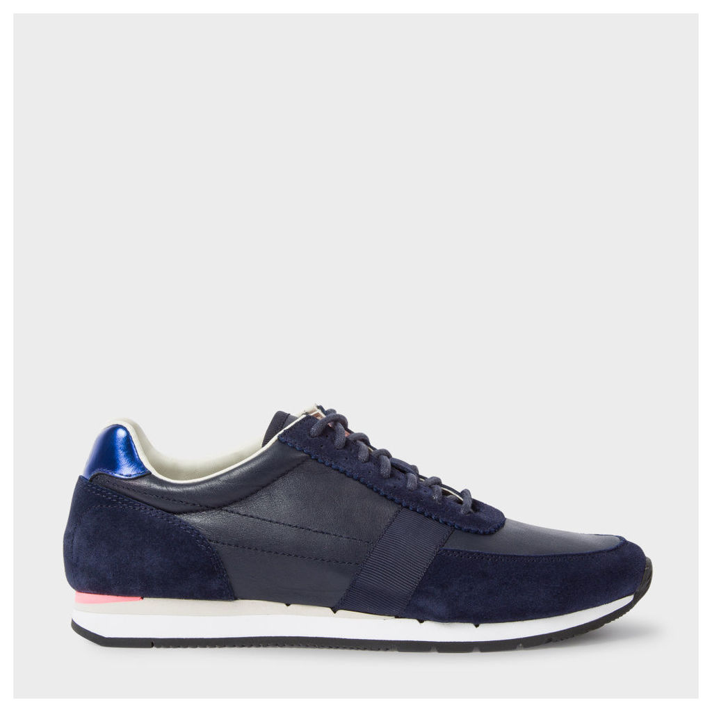 Women's Navy Leather And Suede 'Moogg' Trainers