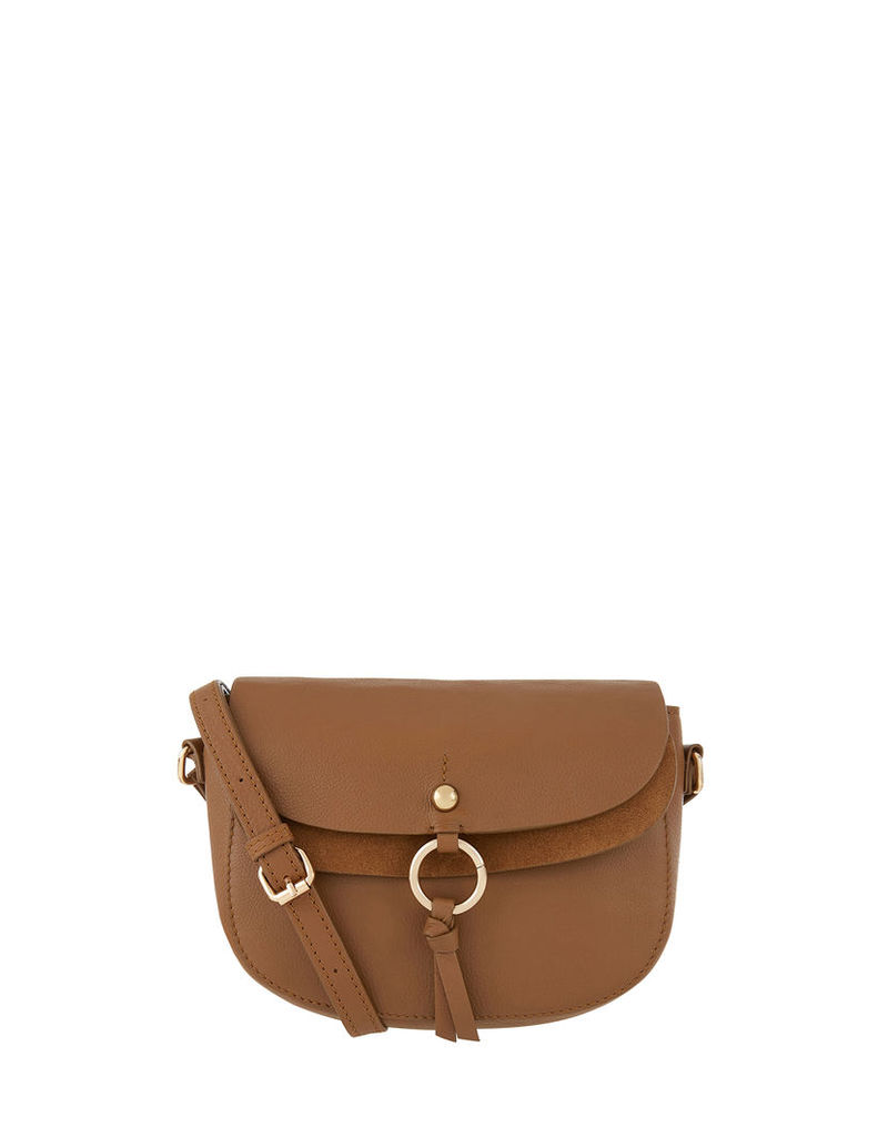 Louise Leather Saddle Ring Across Body Bag