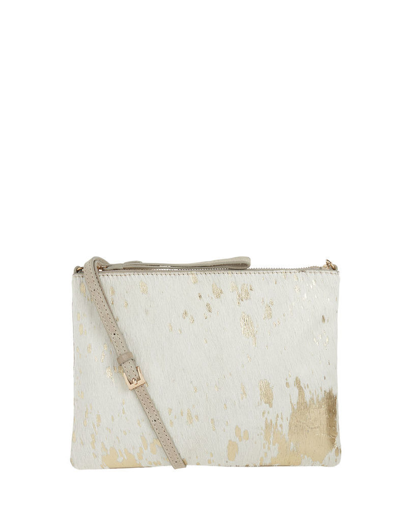 Claudia Leather Foil Print Across Body Bag