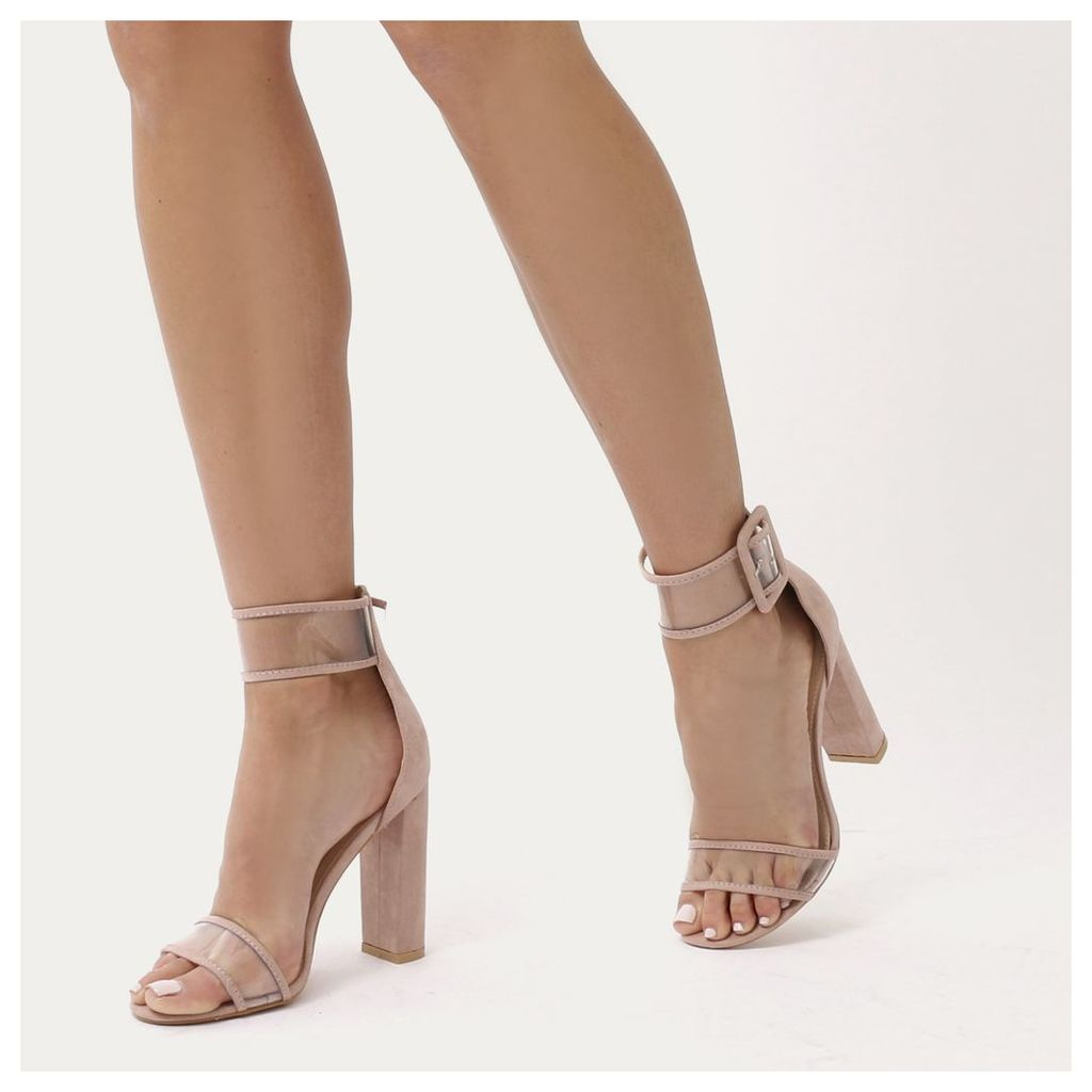 Mission Perspex Strap Buckled Block High Heels in Blush  Faux..., Pink