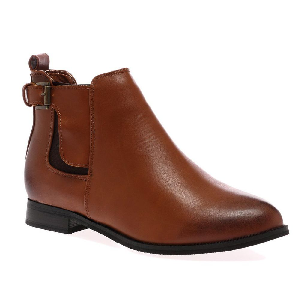 Mila  Buckle Chelsea Boots, Brown