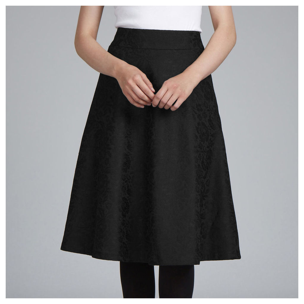 Fit and Flare Floral Jacquard Skirt