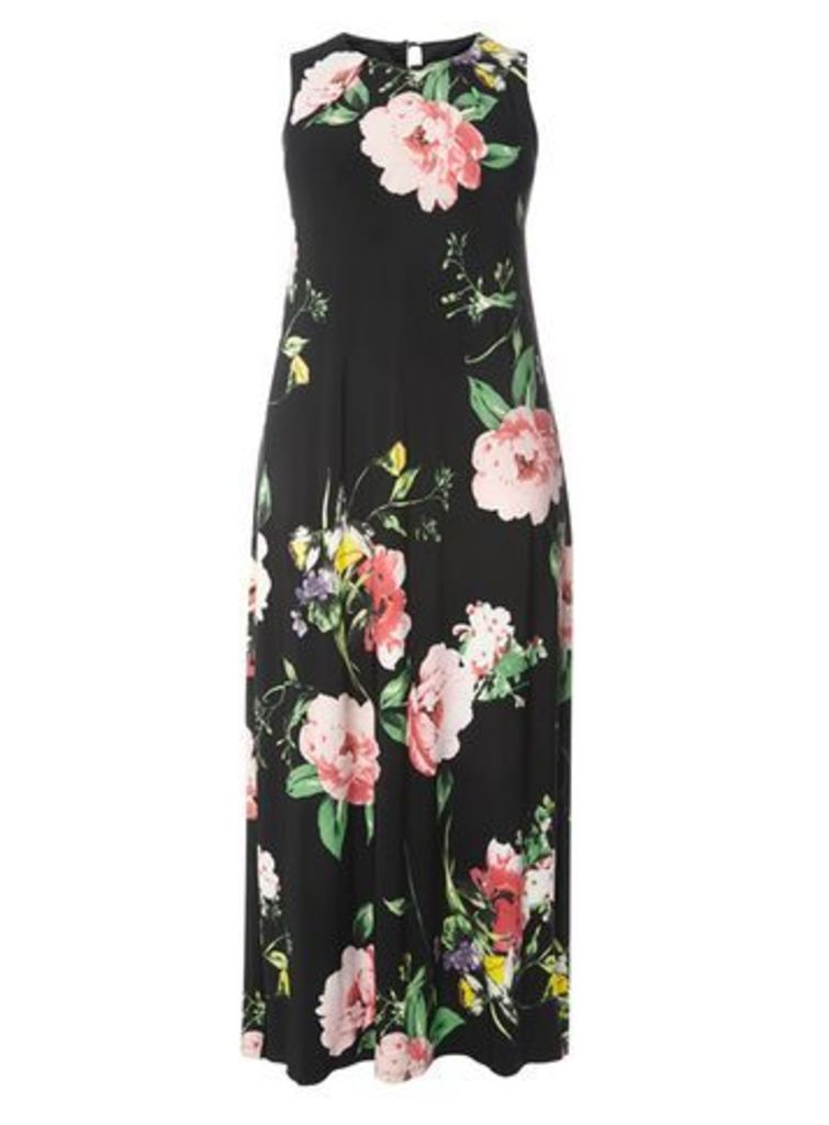 Black Floral Maxi Dress, Dark Multi