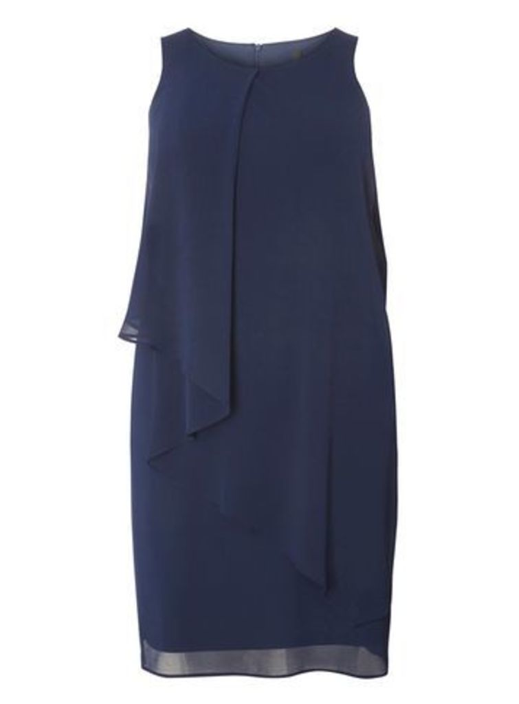 Navy Blue Frill Front Midi Dress, Navy