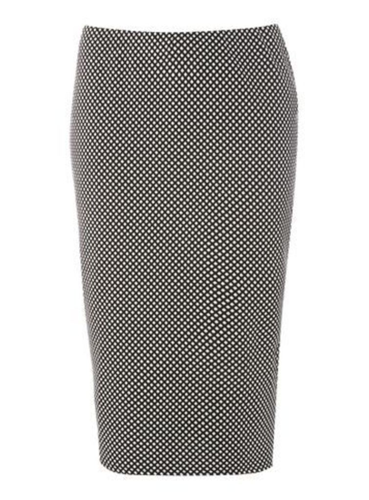 Black And White Spotted Tube Skirt, Black/White