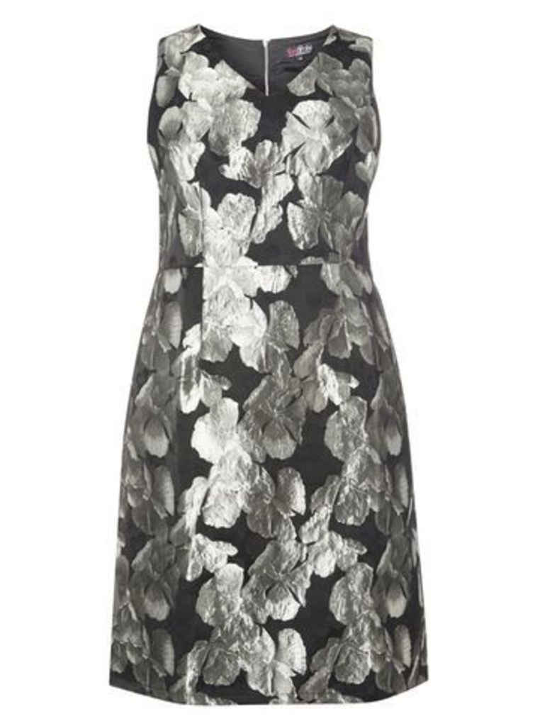 Lovedrobe Silver Jacquard Flower Dress, Silver