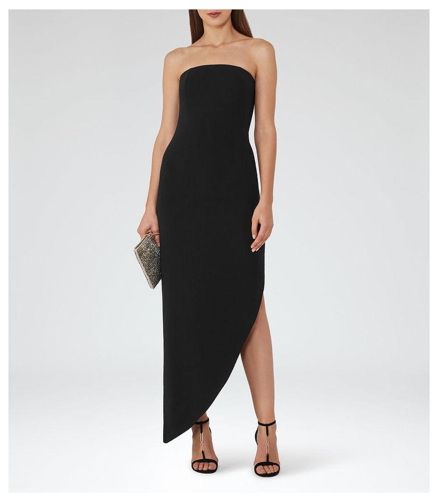 REISS Rima - Womens Strapless Asymmetric Maxi Dress in Black