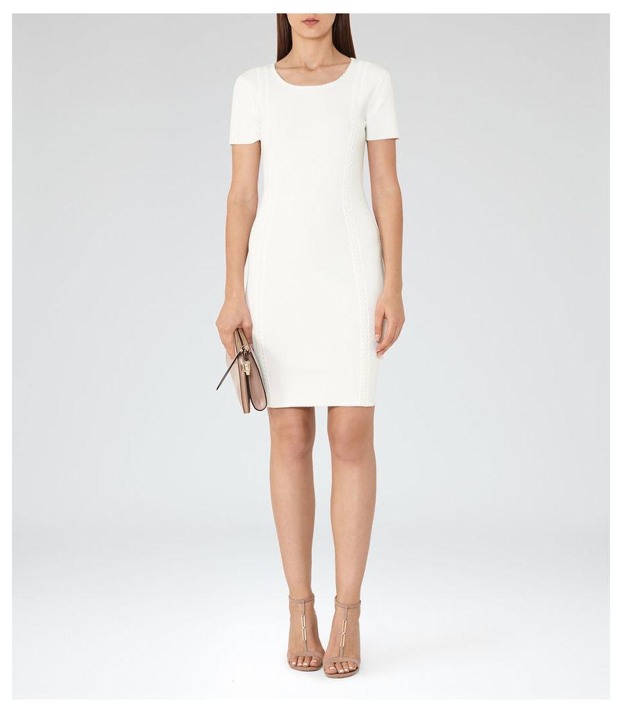 REISS Skyler - Womens Knitted Short Sleeved Dress in White