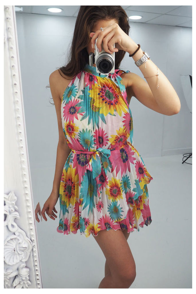 Emilie floral printed pleated high neck dress