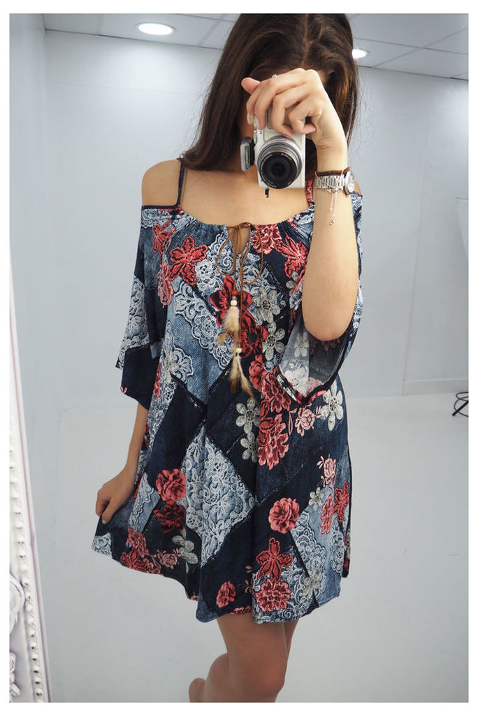 Tamra denim floral printed flared sleeve dress