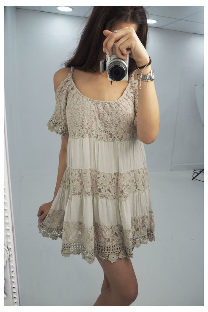 Rhodes cold shoulder crochet panel swing dress