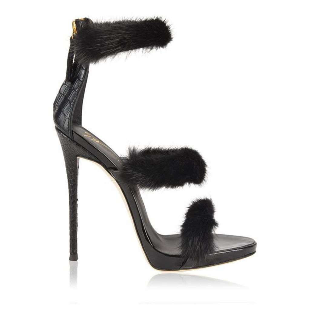 GIUSEPPE ZANOTTI Harmony Winter Fur 3 Strap Heels