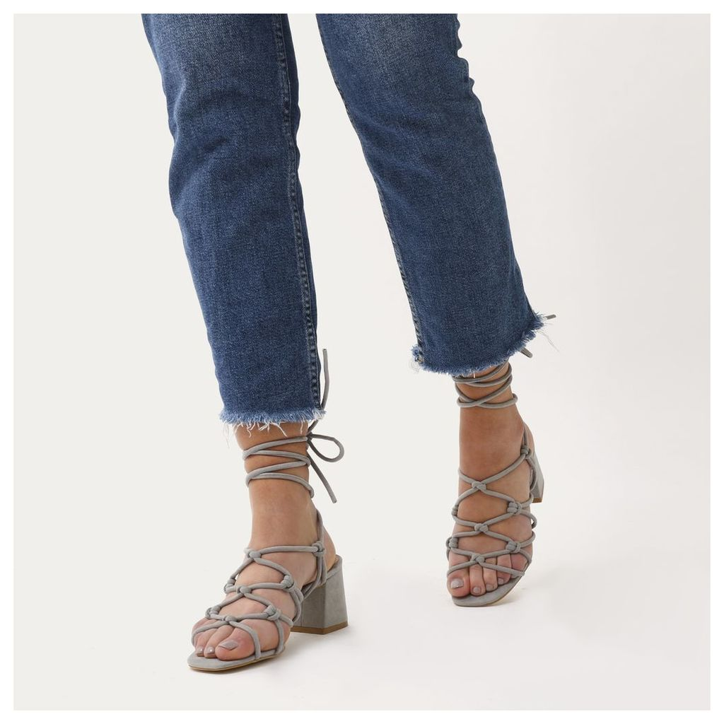 Freya Knotted Strappy Block Heeled Sandals  Faux Suede, Grey