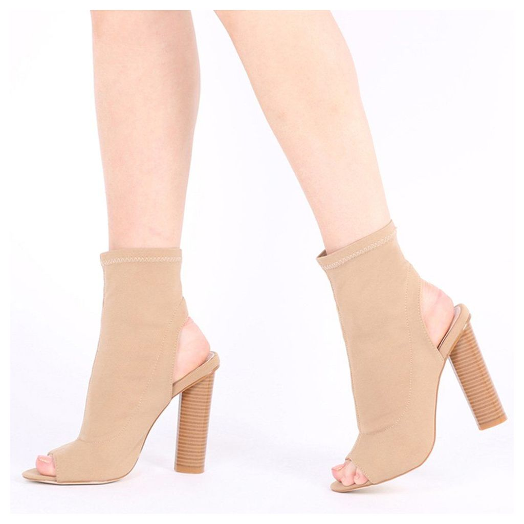 Aliah Cut Out Stacked Heel Stretch Ankle Boots, Nude
