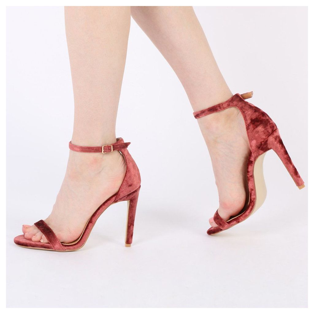Avril Barely There Heels in Rust Velvet, Red