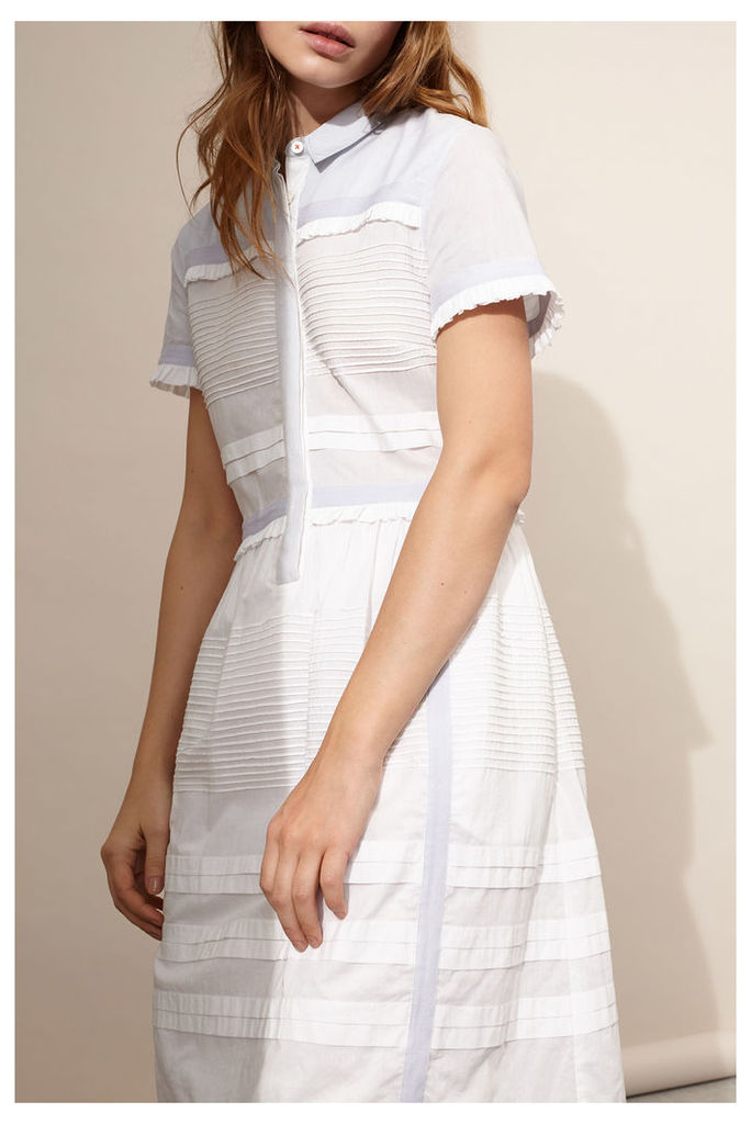 White Ruffle Detail Midi Dress