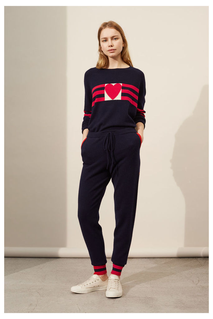 NEW Navy Stripe Heart Cashmere Track Pants