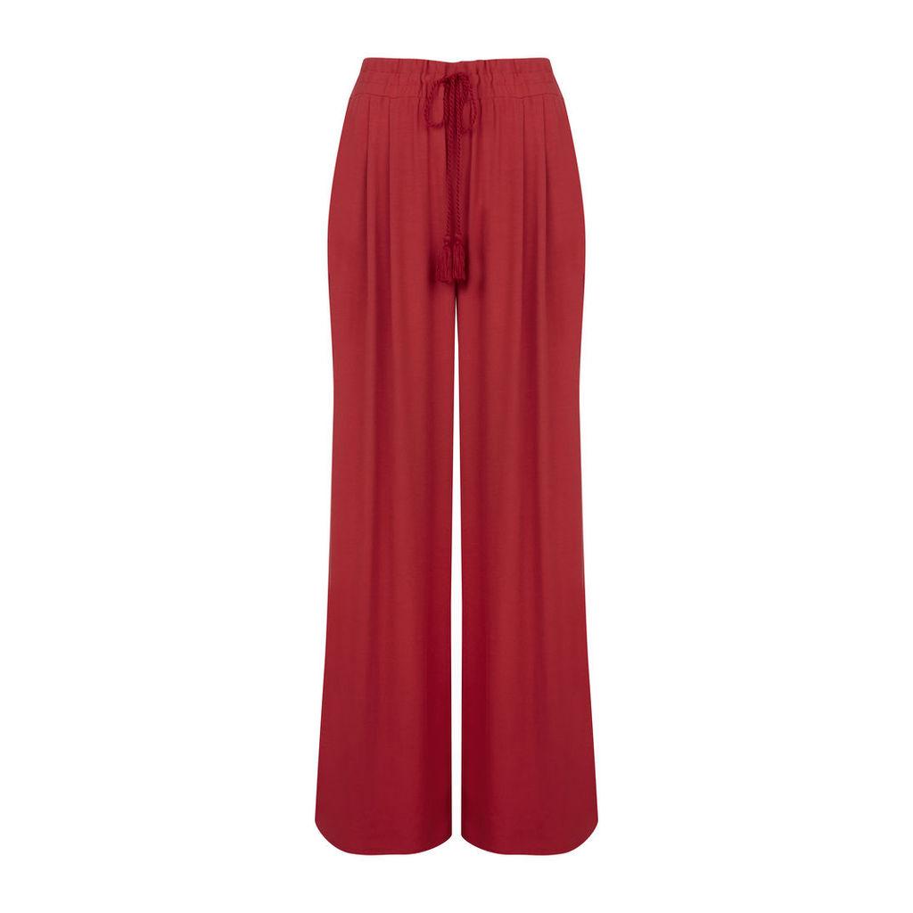 Red Tassel Tie Waist Trousers