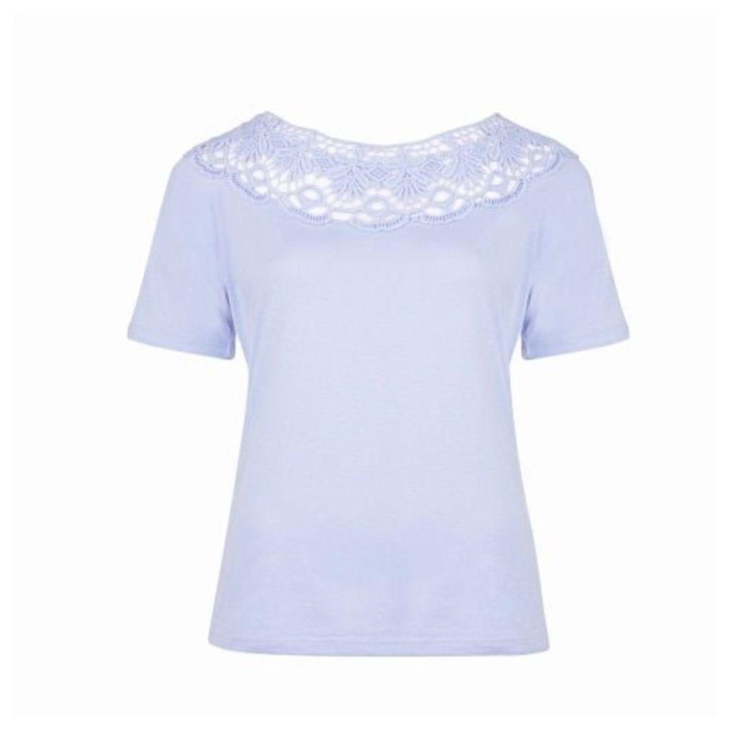 Blue Floral Cutwork Detail Jersey Top