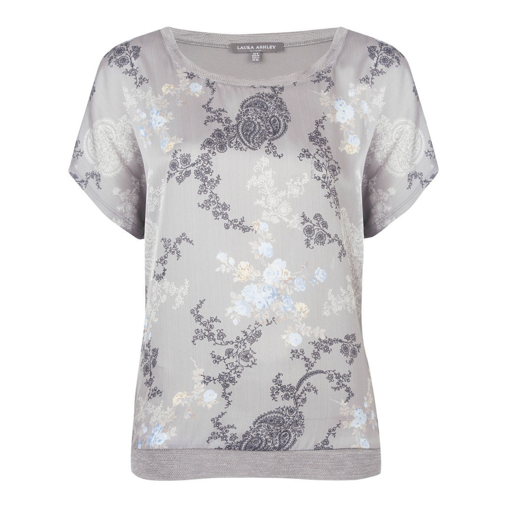 Woven Front Paisley Print Top