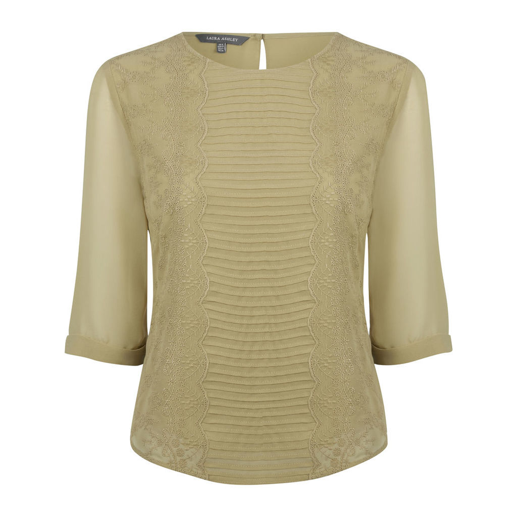 Olive Embroidered Lined SemiSheer Blouse