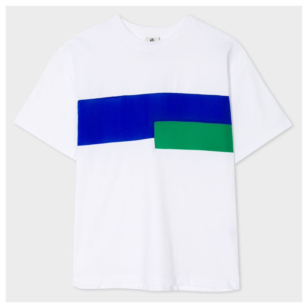 Women's White Cotton T-Shirt With Silk Stripes