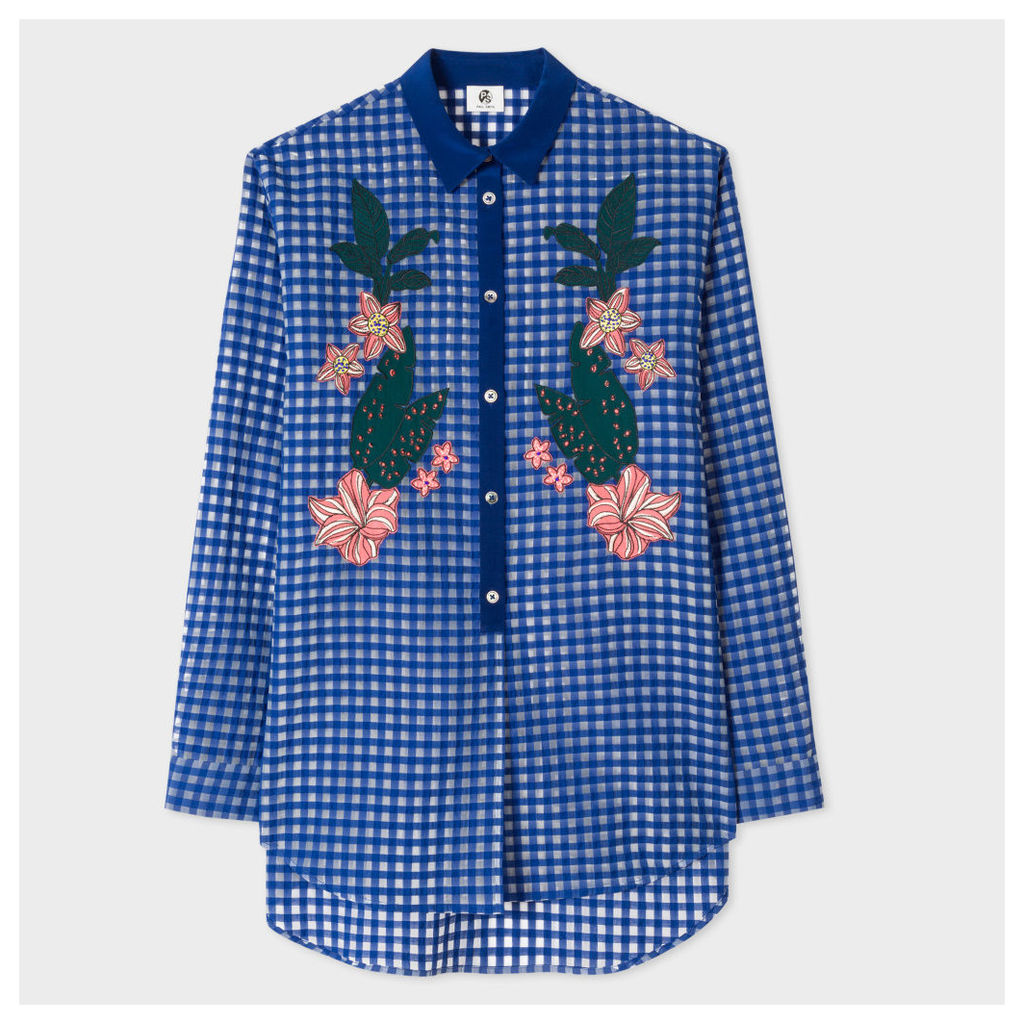 Women's Blue Gingham Shirt With Floral Embroidery