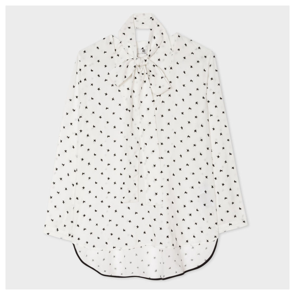 Women's White Top With Flocked Stars